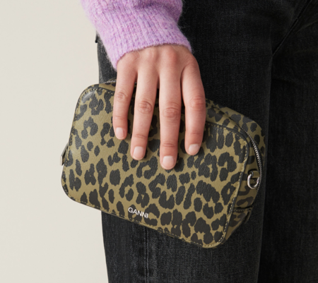 GANNI Small Recycled Leather Bag - Olive Leopard
