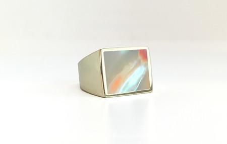 Unisex Legier Abalone Stone Signet Ring