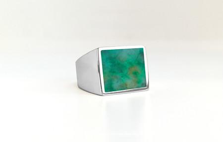 Unisex Legier Chrysocolla+Malachite+Azurite Stone Signet Ring