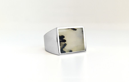 Unisex Legier Moss Agate Stone Signet Ring