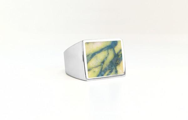 Unisex Legier Picasso Yellow Jasper Stone Signet Ring
