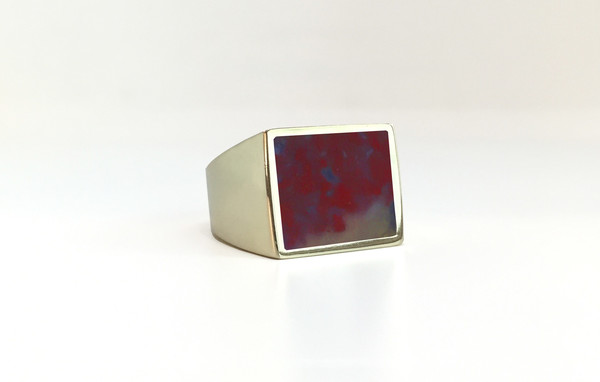 Unisex Legier Red Plum Agate Stone Signet Ring