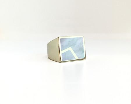 Unisex Legier Stone Signet Ring with Metal Inlay