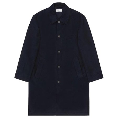 Universal Works Melton Wool Overcoat Jacket - Navy