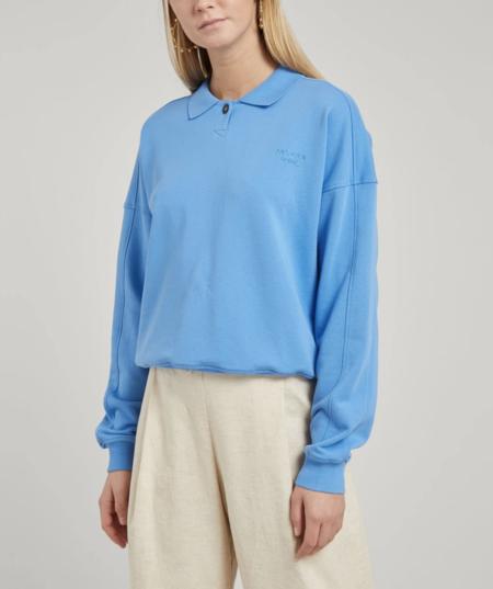 Paloma Wool Ami Organic Cotton Polo Sweater - Soft Blue