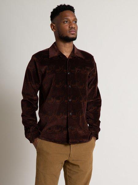 Freemans Sporting Club Camp Collar Shirt - Burgundy Print
