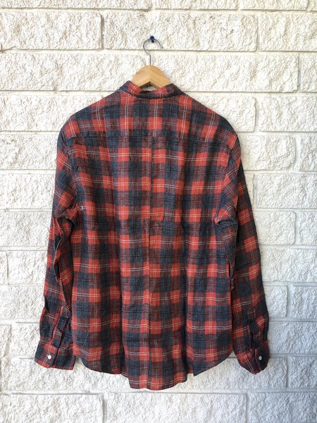 Frank & Eileen Don Woven Button Up - Salmon/Grey Plaid Flannel