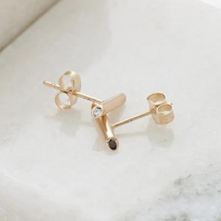 Still House Lana Earrings with Black & White Diamonds - 14K Gold