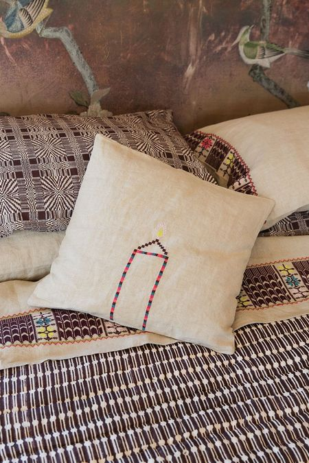 Erica Tanov Throw Pillow - Embroidered Natural Linen