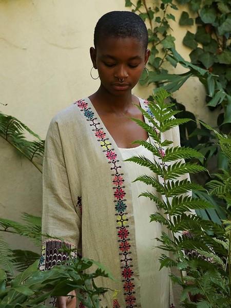 Erica Tanov uma coat - embroidered natural linen