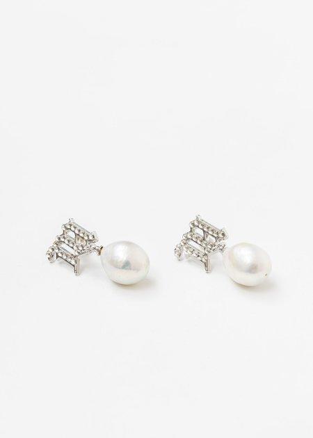 MISBHV Crystal Monogram Baroque Pearl White Earring - Silver
