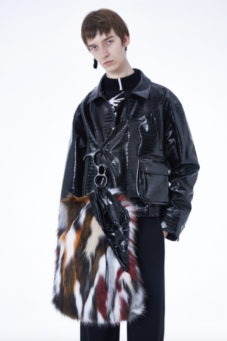 NUTEMPEROR Yob Project 022 Faux Fur Handbag - Black/White/Brown