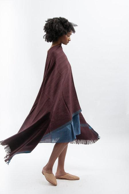 Maku Duta Shawl in merino wool  - Blue / Burgundy