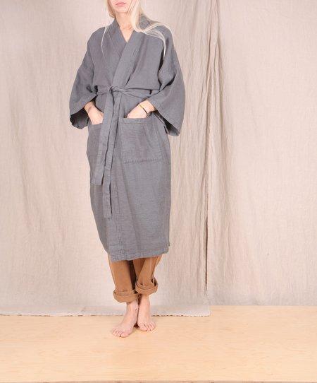 Linge Particulier Waffle Kimono Robe - DARK GREY