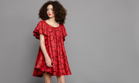 The OULA Company THE CONVERTIBLE DRESS - RED/BLACK SWIRL