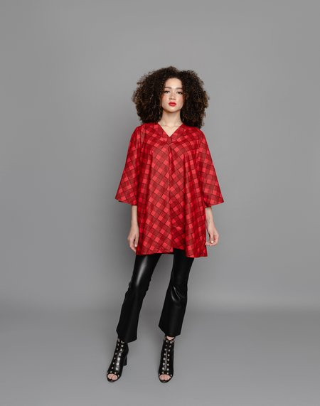 The Oula Company The Poet Dress - Red/Black Plaid