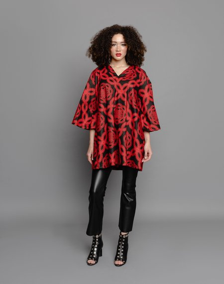 The Oula Company The Poet Dress - Red/Black Sequence
