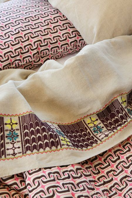 Erica Tanov Flat Top Sheet - Embroidered Natural Linen