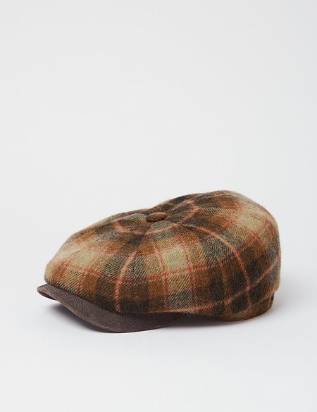 Stetson Hatteras Lambswool Check Flat Cap - Brown