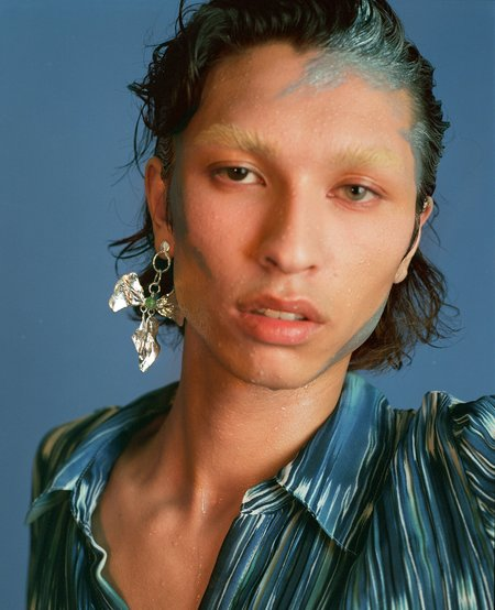 Ora-C REIGN BOW zing jiang jade earrings - Silver