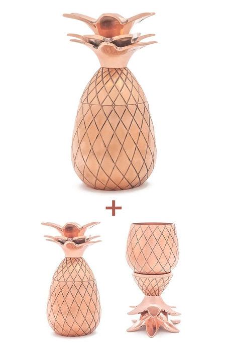W&P Design Copper Pineapple Tumbler and Shot Glasses Gift Bundle