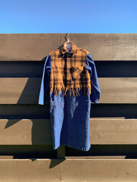 Carleen Harris Duster With Fringe Overlay - Gold/Brown Plaid