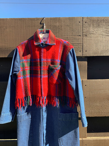 Carleen Harris Duster With Fringe Overlay - Red Plaid