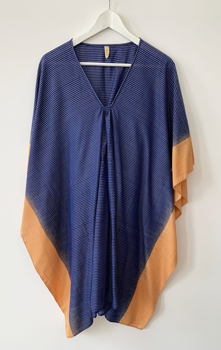 Two Stripe Short Ikat Caftan - Blue/Caramel