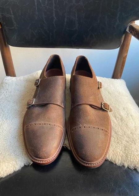 Trask Langley Monk Strap Shoe - Snuff Oiled Suede