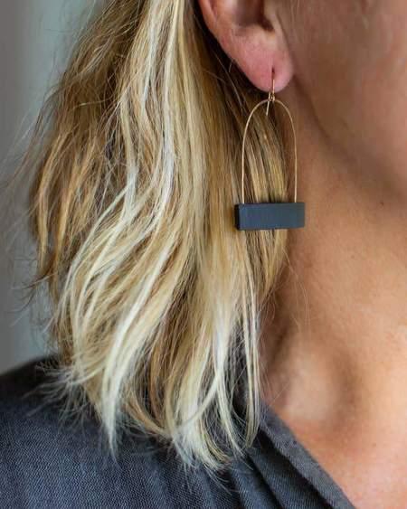 JKH Ceramics Birdcage Earrings - Black Clay
