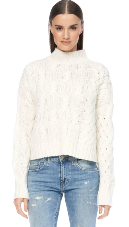 360 Cashmere Elyse Mock Neck Sweater - Winter White