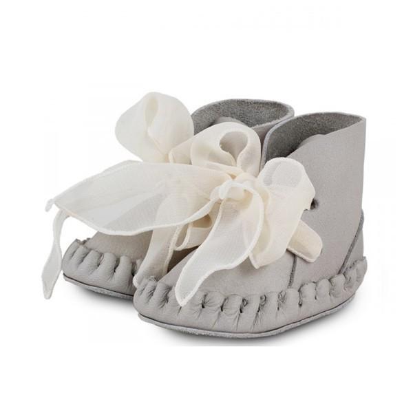 Donsje Pina Lining Grey Leather Organza baby Shoe