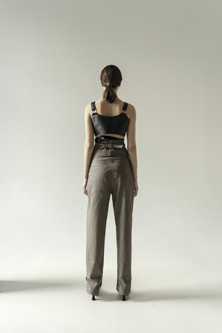 UNISEX K M by L A N G E EXTRA HIGH WAISTED CUFF PANTS - GREY