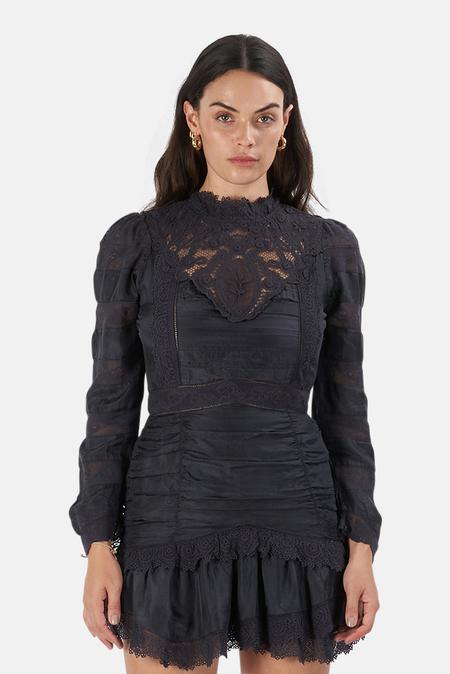 LoveShackFancy Harmon Dress - Black
