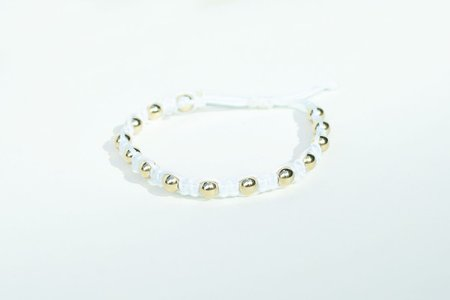 Karen Lazar Macrame Bracelet with Beads - White/Yellow Gold