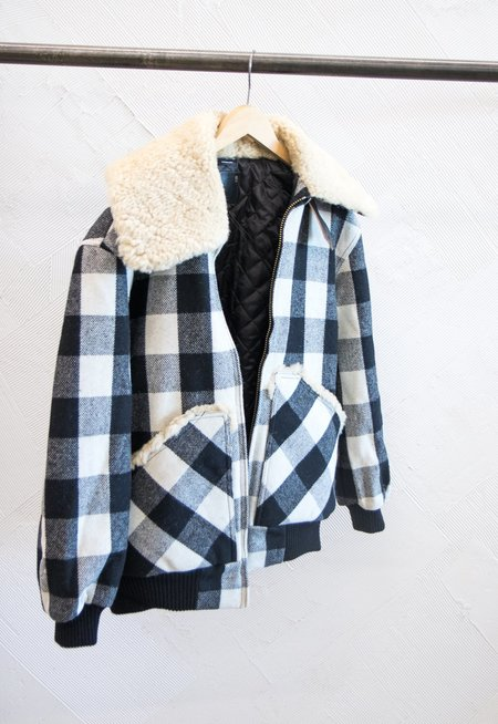 Parliament R13 Buffalo Check Wool Bomber with Faux Fur Collar