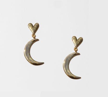 Luiny Half Moon Earrings - Brass/Sterling Silver