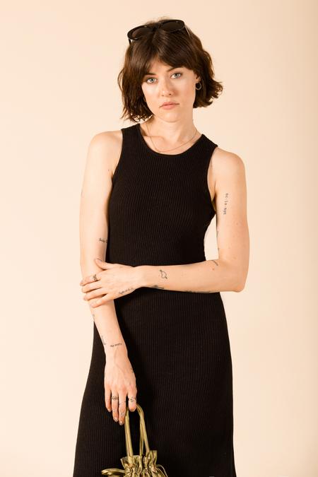 Ali Golden Ribbed Tank Dress - Black