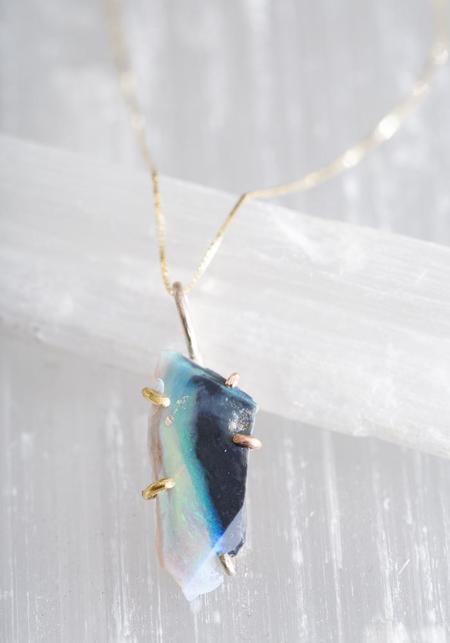 Variance Objects 14KT-18KT Gold Deep Blue Australian Opal Pendant
