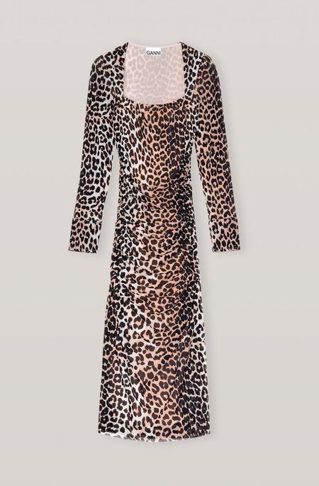 Ganni Printed Mesh Dress - Leopard