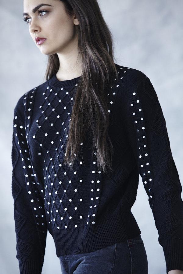 Callahan Studded Cableknit Sweater