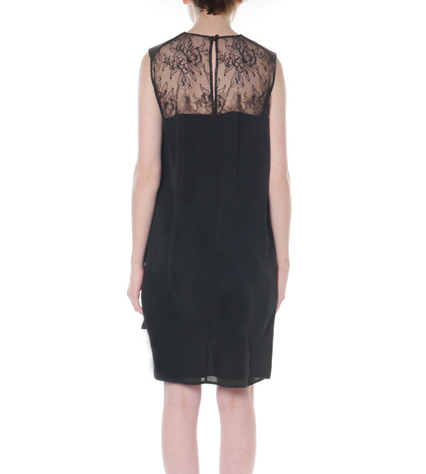 Mason By Michelle Mason Black Shift Dress with Leather and Lace