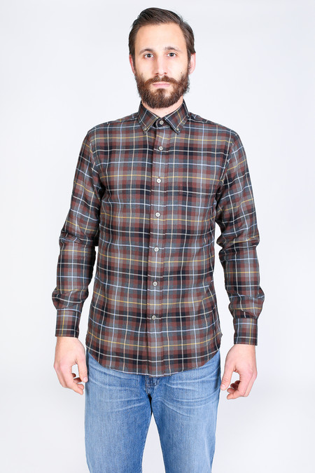 Vert & Vogue James Button-Up in Brown Plaid