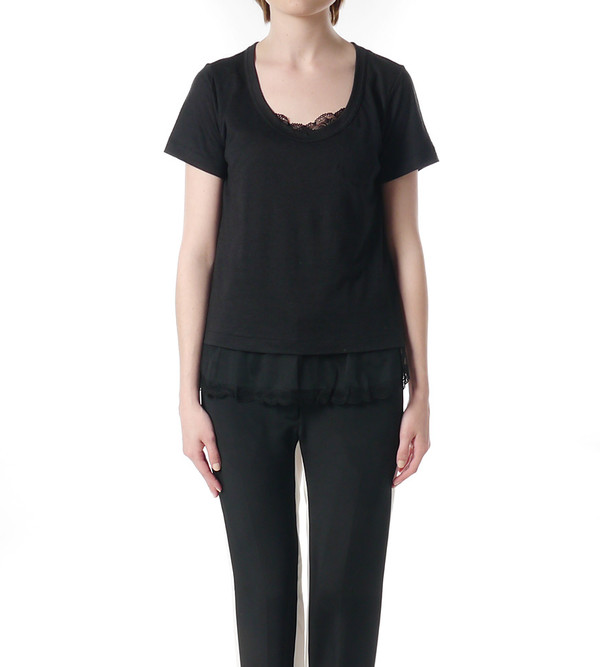 Sacai Luck Black T-Shirt with Lace Under Layer