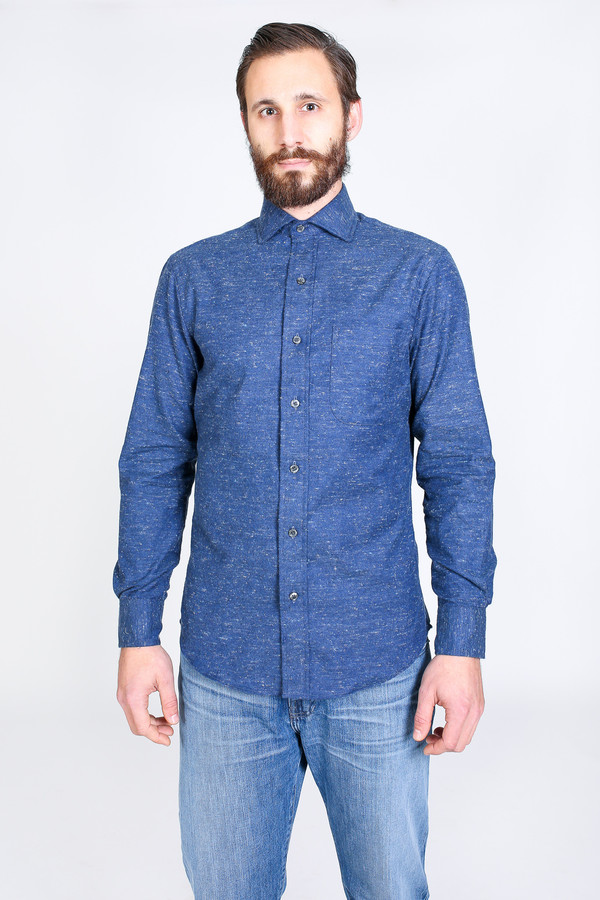 Men's Vert & Vogue Lowell Button-Up Shirt in Navy Speck
