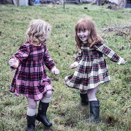 KIDS Morley Child Kenzie Clan Peony Plaid Dress - Pink