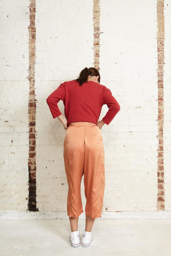 Off Season NYC Zinnia Pant Silk Satin Terracotta