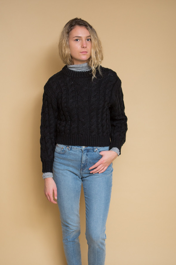 Callahan Braid Crop Sweater - Black
