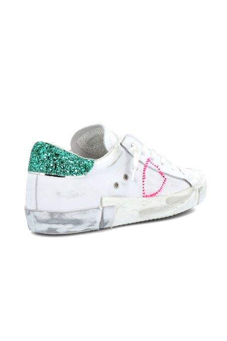Philippe Model PRSX Low WomanShoes - Glitter Pop/Blanc Vert