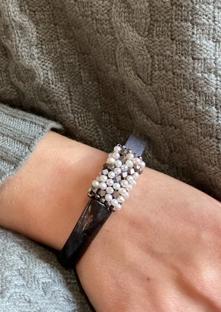 Martell Pearls and Oxidized Cubes Gem Cuff